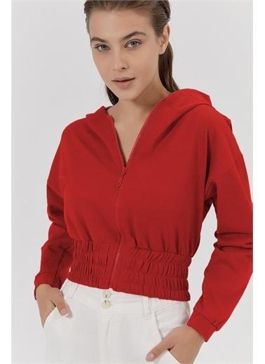 Pattaya Pattaya Kadın Büzgülü Crop Sweatshirt Y20W185-1295 Renkli